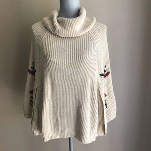 Simply Couture Tan Knit Poncho Floral Embroidery S